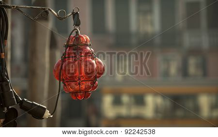ruby colored lampshade