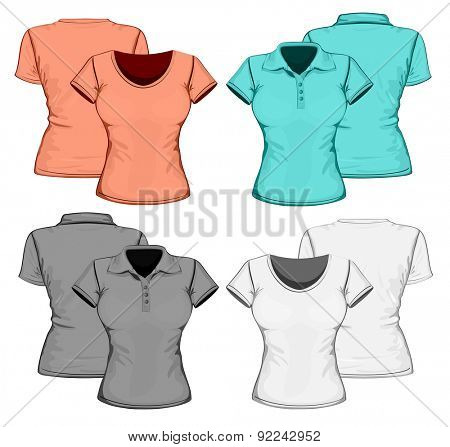Front and back views of women's polo-shirt and t-shirt. Vector illustration