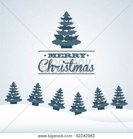 christmas design over  snowscape background vector illustration
