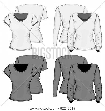 Front and back views of women's t-shirt short and long sleeve. Vector illustration