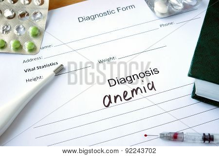 Diagnostic form with Diagnosis anemia.