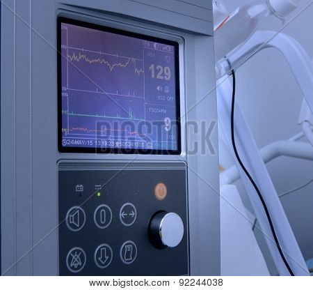 Fetal heart rate on cardiograph display