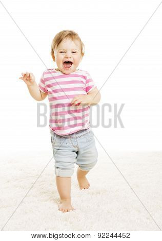 Baby Kid Go One Year Old, Little Child Girl Laughing Open Mouth, Happy Toddler Over White