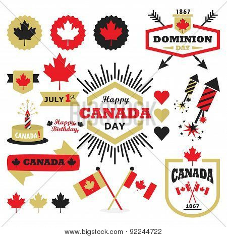Happy Canada Day design elements set on white background