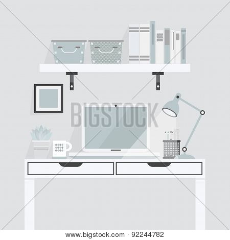 Pretty white and teal working place on gray background