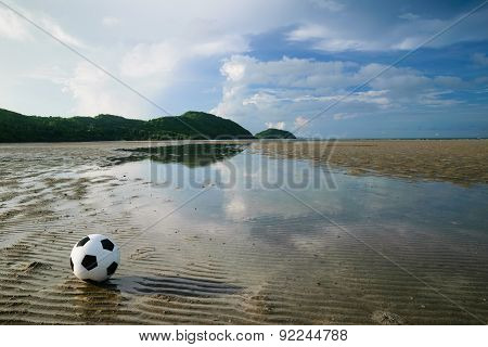Football With Beach Landscape