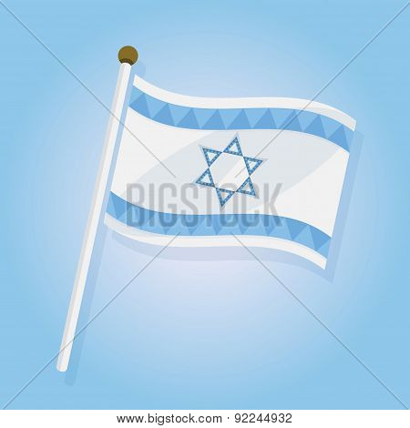 Abstract tilted Israel flag icon on sky blue gradient background