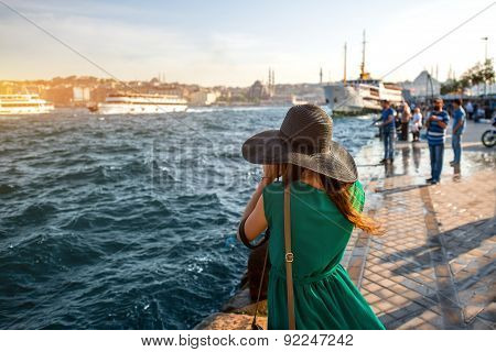 Woman traveler on the Bosphorus in Istanbul