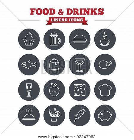 Food and Drinks linear icons set. Thin outline signs. Vector