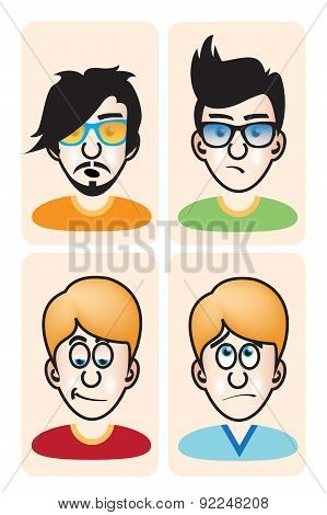 Set of vector illustration cartoon avatar young men portraits
