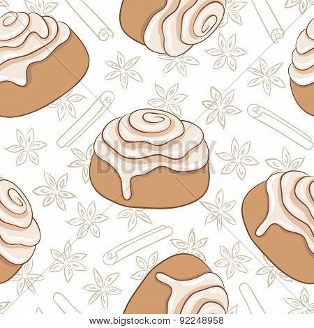Seamless pattern with cinnamon rolls and spice. Freshly baked sweet pastry with frosting and spice