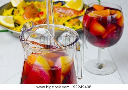 Spanish Cuisine. Fresh Sangria And Paella.