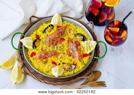 Spanish Cuisine. Paella And Fresh Sangria.