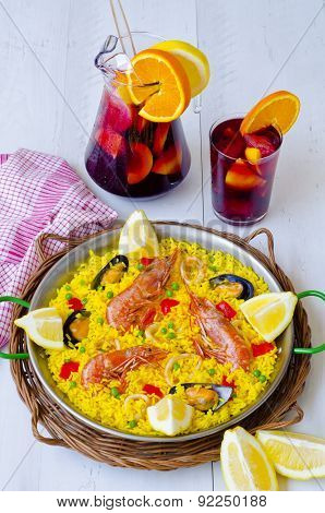 Spanish Cuisine. Paella And Fresh Sangria.