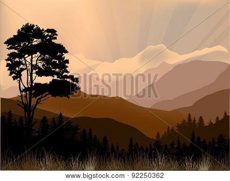 illustration with dark hill landscape