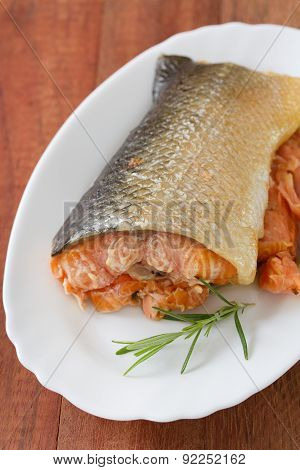 Smoked Salmon On Dish On Brown Wooden Background