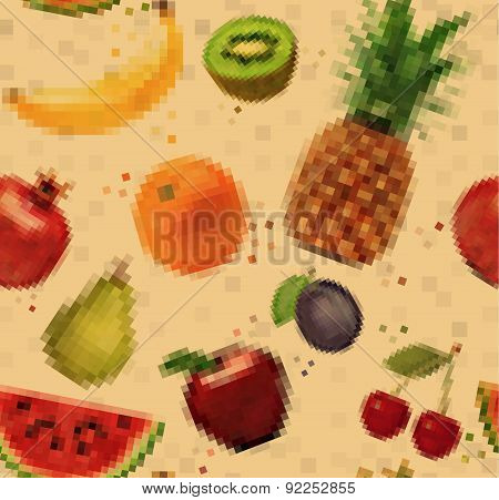 Pattern pixel fruits kraft