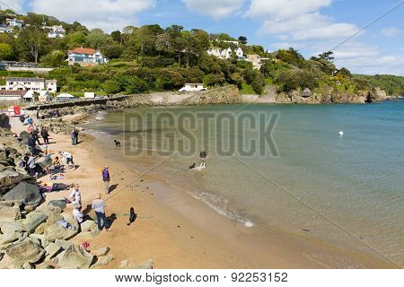 Sunny weather in summer drew visitors to the beach at North Sands Salcombe Devon UK