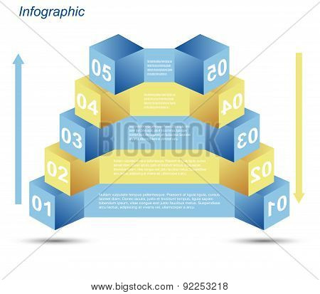 Info-graphic design templates in the form of a 3D box.