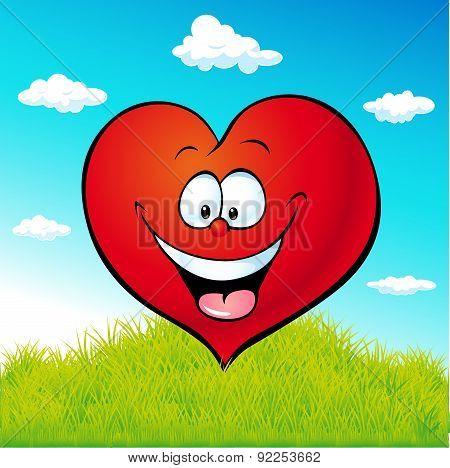 Red Heart Cartoon On Green Grass