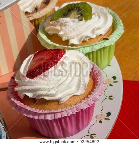 Kiwi And Strawberry Dessert Fruit Pastries With Whipped Cream