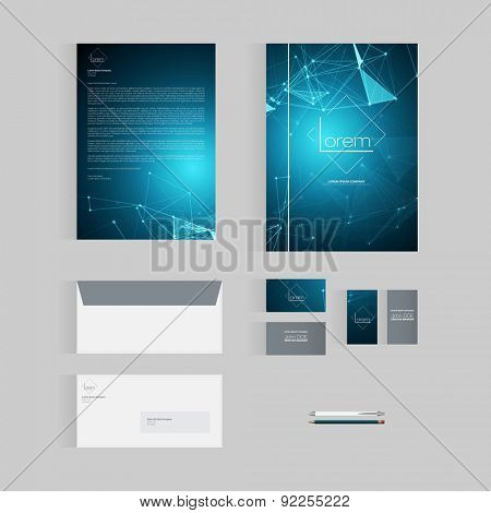 Blue Vector Stationery Template Design for Business
