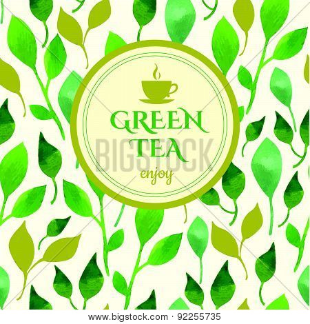 Vector Beautiful Illustration With Cup Logo On Leaf Background.