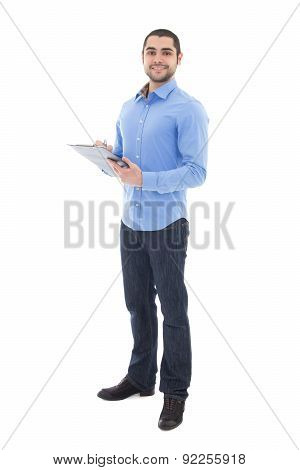 Young Arabic Bearded Man Writing Something On Clipboard Isolated On White