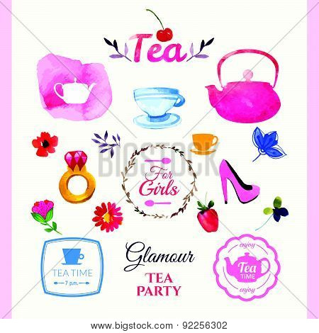 Vector Beautiful Illustration With Teapots, Logo & Decorative Elements.