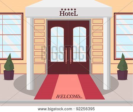 View of the entrance to the five-star hotel. Vector illustration.