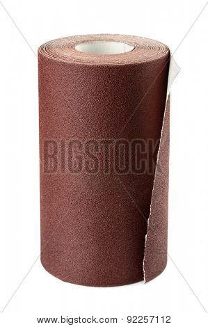 Brown sandpaper roll isolated on white