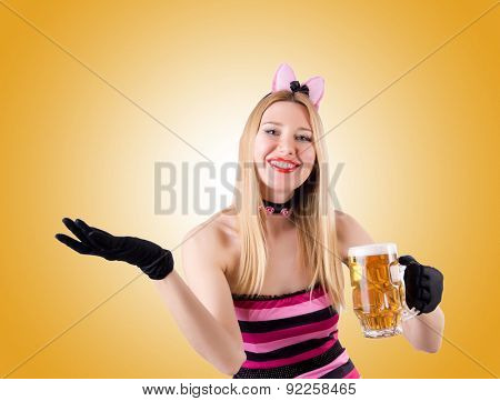 Woman with beer isolated on white