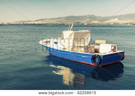 Old Wooden Pleasure Boat Anchored In Izmir Bay