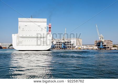 Stern Of Big White Cargo Ferry Ship