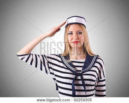 Woman sailor in marine concept