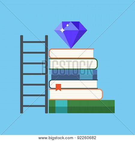 Way To Knowledge Wealth Concept. Flat Design.