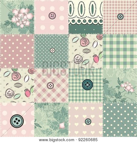 Seamless patchwork in shabby chic style.