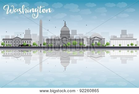 Washington DC city skyline. Vector illustration with cloud and blue sky