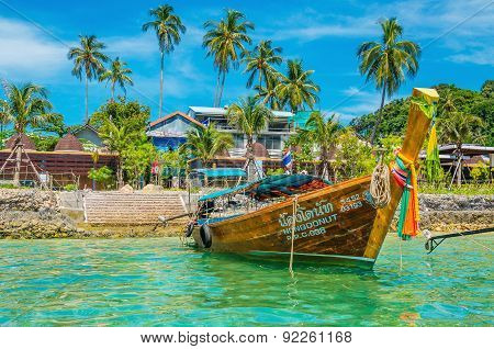 Longtailed boat with seashore, Thailand