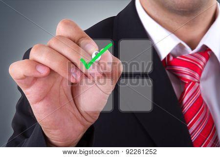 Businessman With Digital Screen