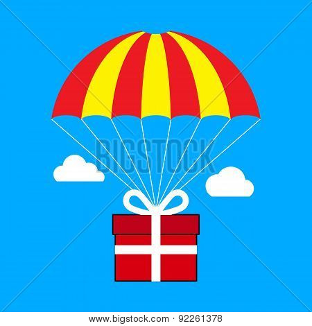 Gift Box Flying On Parachute, Delivery Service, Bonus Concept. Flat Design.
