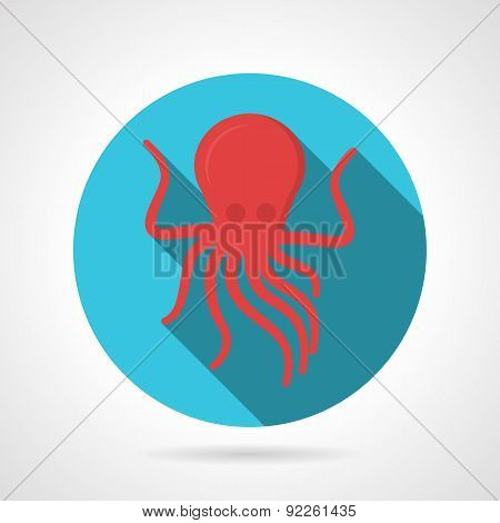 Flat color design octopus vector icon