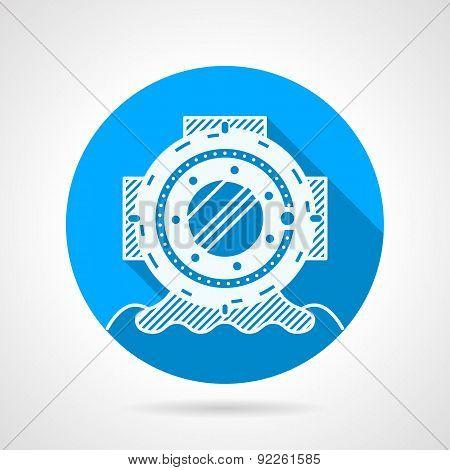 Diver-helmet flat round vector icon