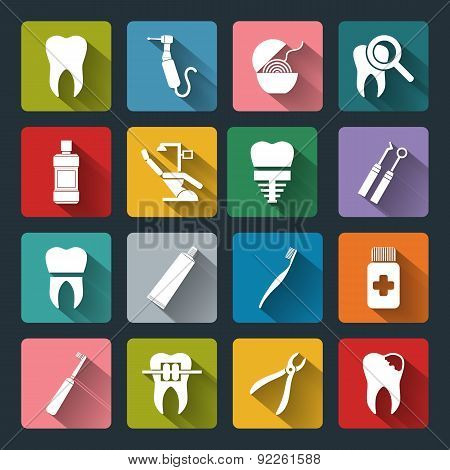 Set Of Vector Dental Icons In Flat Style With Long Shadows.
