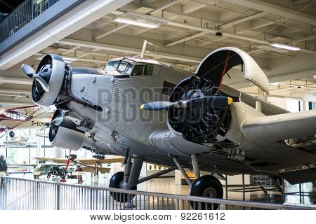 Munich, Germany - 13 May 2014:  plane in the German Museum of Science and Technology or Das Deutsche museum in Munich, Bavaria, Germany