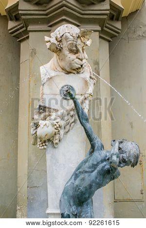 Munich, Germany - 13 May 2014: aun mit Knabe, fountain Brunnenbuberl in Munich, Germany