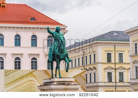 Munich, Germany - 13 May 2014: Equestrian statue of the first Elector Maximilian I in the square Wittelsbac, Munich, Bavaria, Germany
