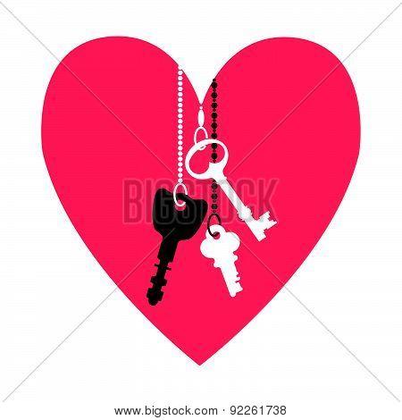 Vector Illustration Of Keys. For Valentine's Day.