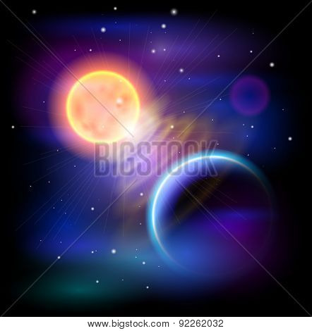 Magic Space - Sun & Blue planet, stars and constellations, nebulae and galaxies, lights