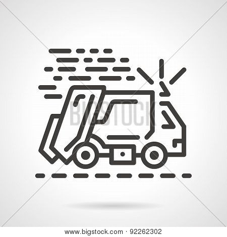 Garbage truck black line vector icon